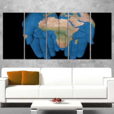 Design Art African Map In Our Hands Abstract CanvasArtwork - 5 Panels