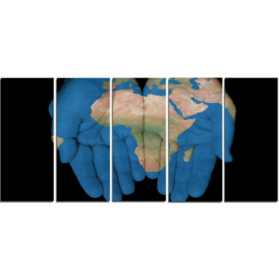 Designart African Map In Our Hands Abstract CanvasArtwork - 5 Panels