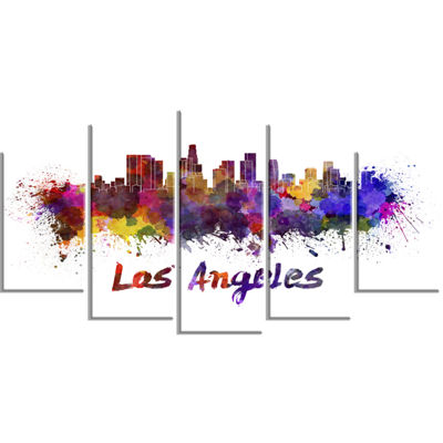 Designart Los Angeles Skyline (373) Cityscape Canvas Artwork Print - 5 Panels