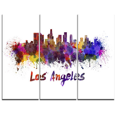 Designart Los Angeles Skyline Cityscape Canvas Artwork Print - 3 Panels