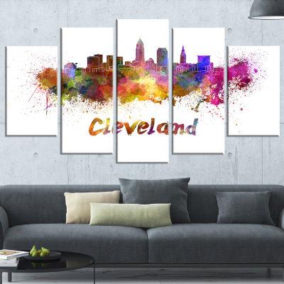 Design Art Cleveland Skyline (373) Cityscape Canvas Artwork Print - 5 Panels