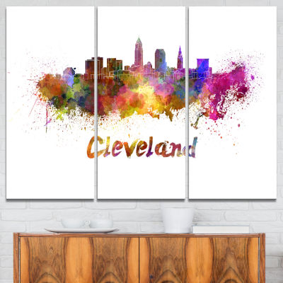 Designart Cleveland Skyline Cityscape Canvas Artwork Print - 3 Panels