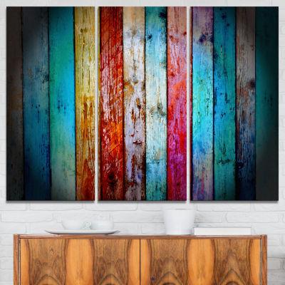 Design Art Vintage Wooden Pattern Contemporary Artwork - 3 Panels