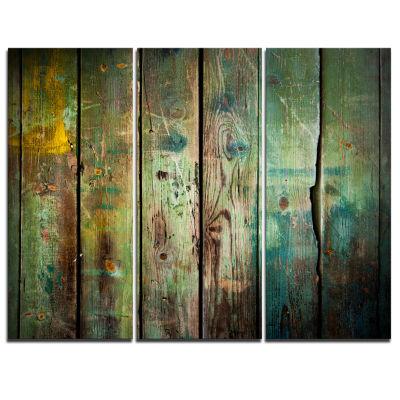 Designart Old Wood Pattern Contemporary Canvas ArtPrint - 3 Panels