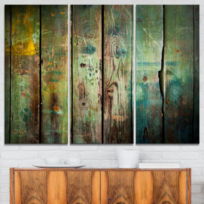 Design Art Old Wood Pattern Contemporary Canvas Art Print - 3 Panels