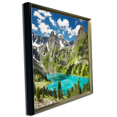 Designart Mountain Lake And Blue Sky Photography Canvas Art Print