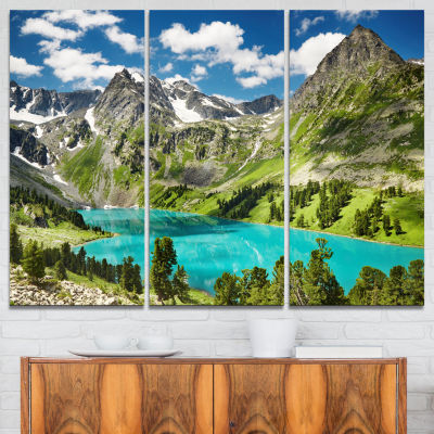 Design Art Mountain Lake And Blue Sky Photography Canvas Art Print - 3 Panels