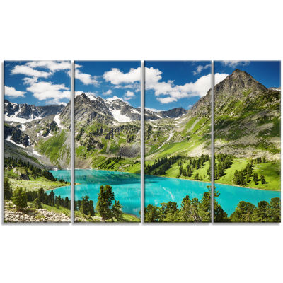 Designart Mountain Lake And Blue Sky Photography Canvas Art Print - 4 Panels