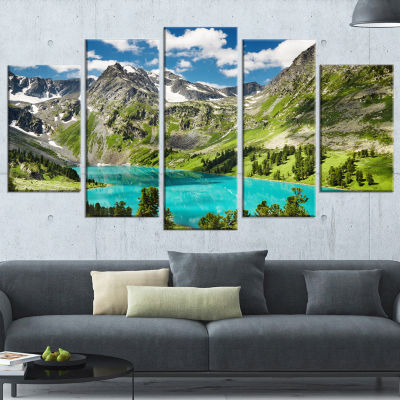 Designart Mountain Lake And Blue Sky Photography Canvas Art Print - 5 Panels