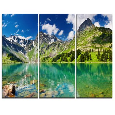 Designart Bright Day Mountain Lake Photography Canvas Art Print - 3 Panels