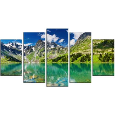 Design Art Bright Day Mountain Lake Photography Canvas Art Print - 5 Panels