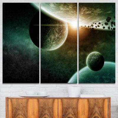 Designart Space Planet Illustration Contemporary Canvas Art Print - 3 Panels