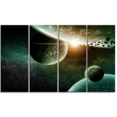 Designart Space Planet Illustration Contemporary Canvas Art Print - 4 Panels