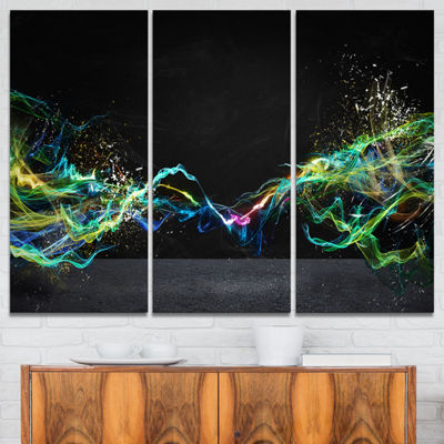 Designart Abstract Motion Banner Contemporary Canvas Art Print - 3 Panels
