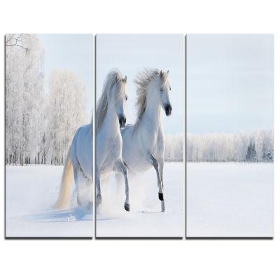 Designart Two Galloping White Ponies Animal PhotoCanvas Art - 3 Panels