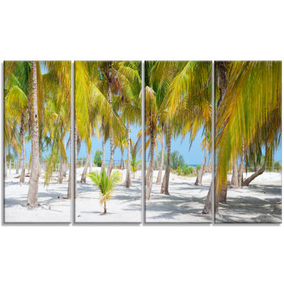 Design Art Palm Trees Landscape Photography Canvas Art Print - 4 Panels