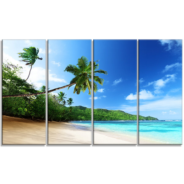 Designart Sunset Beach With Palm Landscape Photography Canvas Art Print - 4 Panels