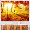 Design Art Autumnal Park Landscape Photography Canvas Art Print - 3 Panels