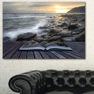 Designart Open Book To The Evening Sea Contemporary Canvas Art Print