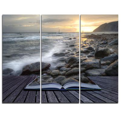 Designart Open Book To The Evening Sea Contemporary Canvas Art Print - 3 Panels