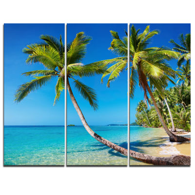 Designart Tropical Beach Thailand Landscape PhotoCanvas Art Print - 3 Panels