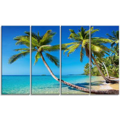 Designart Tropical Beach Thailand Landscape PhotoCanvas Art Print - 4 Panels
