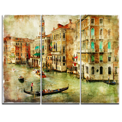 Designart Vintage Venice Digital Art Landscape Canvas Print - 3 Panels