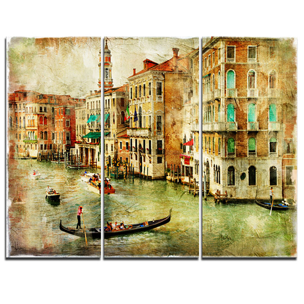 Design Art Vintage Venice Digital Art Landscape Canvas Print - 3 Panels