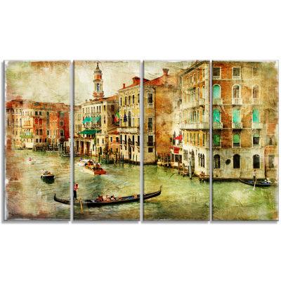 Designart Vintage Venice Digital Art Landscape Canvas Print - 4 Panels