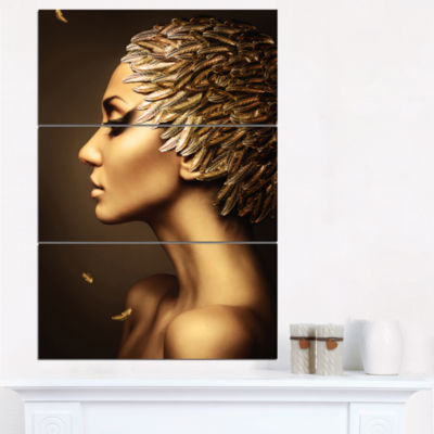 Design Art Woman With Gold Feather Hat Contemporary Canvas Art Print - 3 Panels