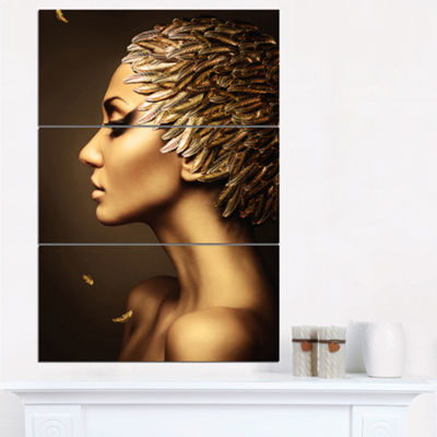 Designart Woman With Gold Feather Hat ContemporaryCanvas Art Print - 3 Panels