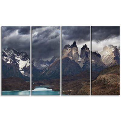 Designart Torres Del Paine Cuernos Mountains Photography Canvas Art Print - 4 Panels