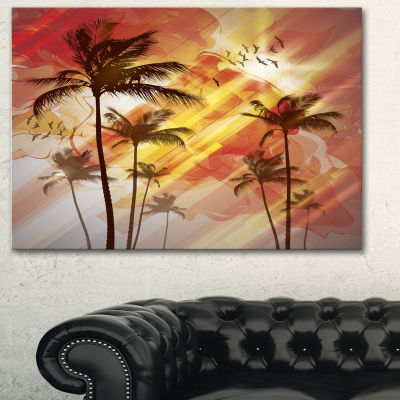 Design Art Palm Tree At Sunset Photography Canvas Art Print