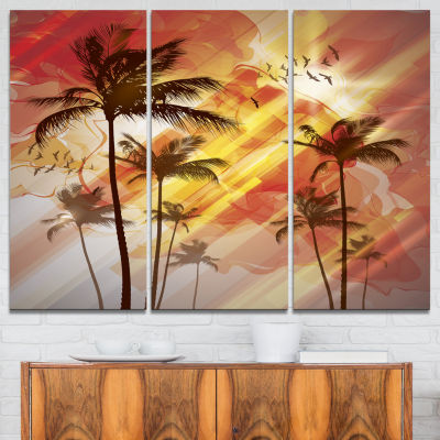 Designart Palm Tree At Sunset Photography Canvas Art Print - 3 Panels