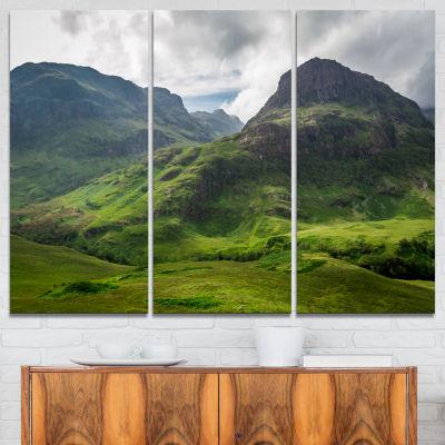 Designart Summer In Scotland Landscape PhotographyCanvas Print - 3 Panels
