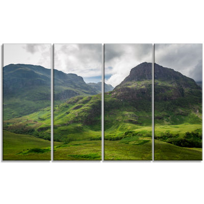 Design Art Summer In Scotland Landscape Photography Canvas Print - 4 Panels