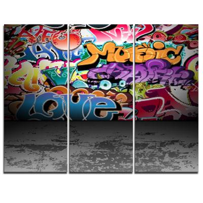 Design Art Love And Music Street Art Graffiti Canvas Print - 3 Panels