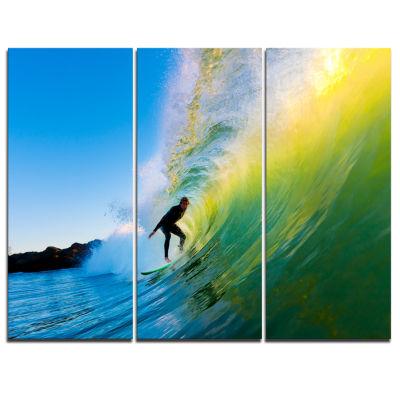 Designart Surfer Beating Green Waves PhotographyCanvas Art Print - 3 Panels
