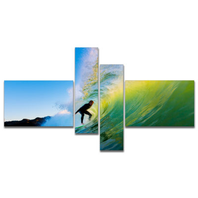 Designart Surfer Beating Green Waves Photography Canvas Art Print - 4 Panels