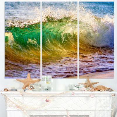 Designart Ocean Turning Green Seascape Canvas ArtPrint - 3 Panels