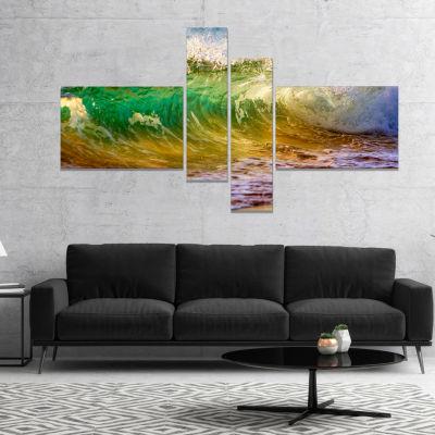 Design Art Ocean Turning Green Seascape Canvas Art Print - 4 Panels