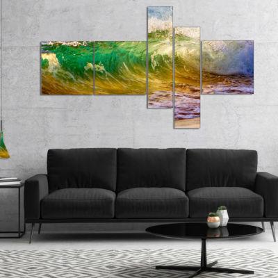 Designart Ocean Turning Green Seascape Canvas ArtPrint - 5 Panels