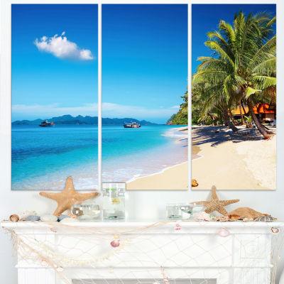 Designart Tropical Beach Thailand Photography Canvas Art Print - 3 Panels
