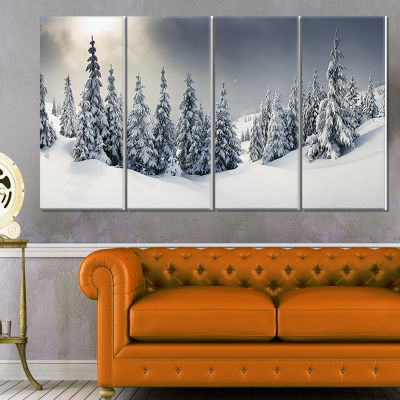 Design Art Winter Landscape Photography Canvas Art Print - 4 Panels