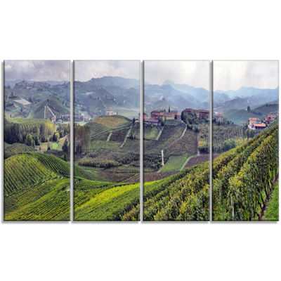 Designart Vineyards In Italy Panoramic PhotographyCanvas Art Print - 4 Panels