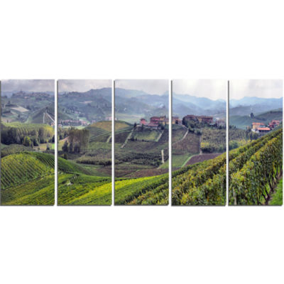 Design Art Vineyards In Italy Panoramic Photography Canvas Art Print - 5 Panels