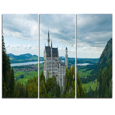 Design Art Castle Neuschwan Landscape PhotographyCanvas Art Print - 3 Panels