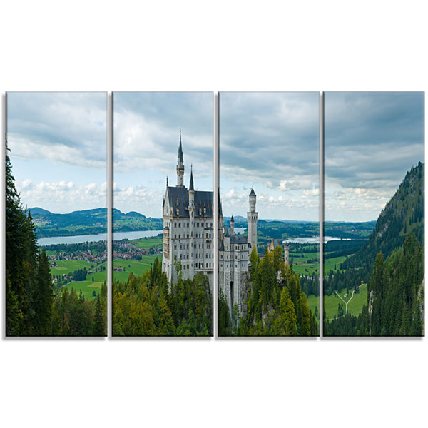 Designart Castle Neuschwan Landscape Photography Canvas Art Print - 4 Panels