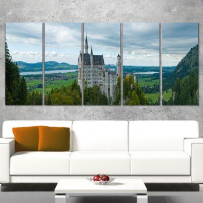 Designart Castle Neuschwan Landscape PhotographyCanvas Art Print - 5 Panels