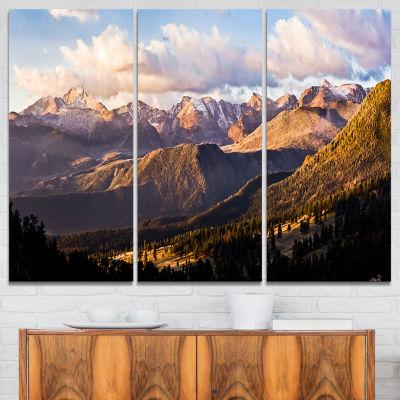 Designart Clouds Over Long S Peak Landscape CanvasPrint - 3 Panels
